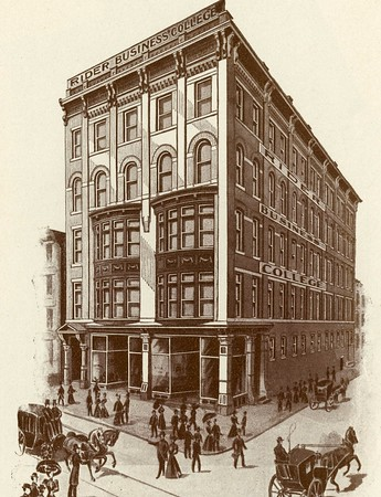 "In 1886, the Trenton Business School was moved to the Ribsam Building on Broad and Front Streets.  Following this move, A.J. Rider incorporated the school under the name ""Rider Business College."""