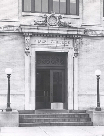 Main entrance to Rider College's first  building.
