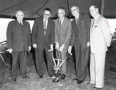 (left to right) J. Goodner Gill, George R. Hill, Congressman Thompson, President Franklin F. Moore and the Mayor of Lawrence Township.